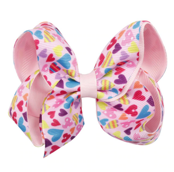 Light Pink Heart Print - Small Bow