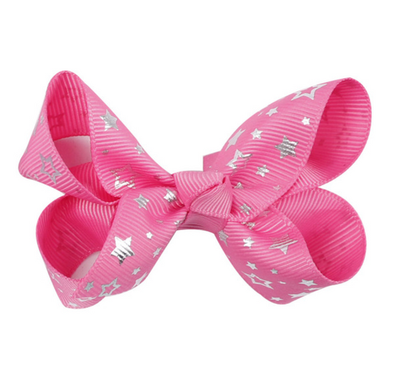 Foil Star Bright Pink - Mini Bow