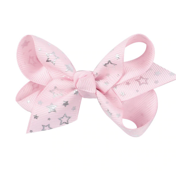Foil Star Baby Pink - Mini Bow