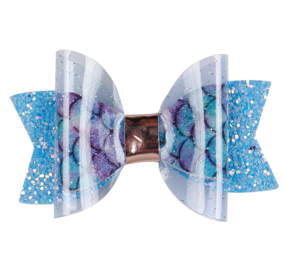 Mermaid Glitter Jelly Bow - Mini Bow