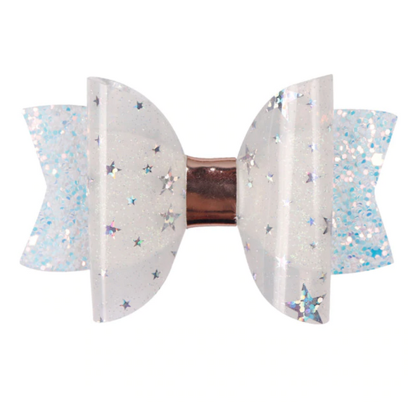 White Glitter Jelly Bow - Mini Bow
