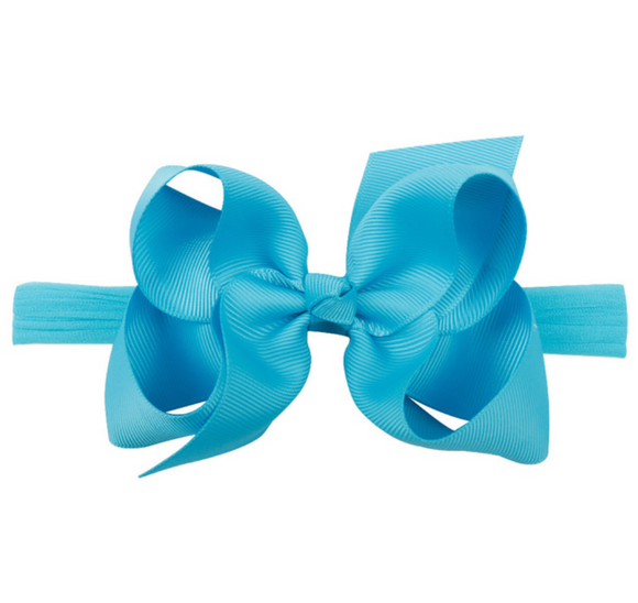 Classic Turquoise Blue on Headband - Small Bow
