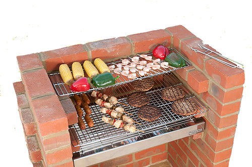 100% STAINLESS STEEL BBQ KIT BKB502 with Cover 67x39cm (3 brick)