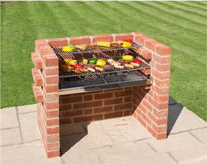 Black Knight BKB 304 brick bbq deluxe kit being used to barbecue meat, fish and veg.