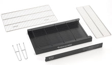 Load image into Gallery viewer, BKB402 brick barbecue kit component parts included in Black Knight bbq kits, deep Ash Tray, Ember Guard, Charcoal grid, cooking grill, warming rack and lifting handles.