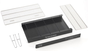 BKB402 brick barbecue kit component parts included in Black Knight bbq kits, deep Ash Tray, Ember Guard, Charcoal grid, cooking grill, warming rack and lifting handles.