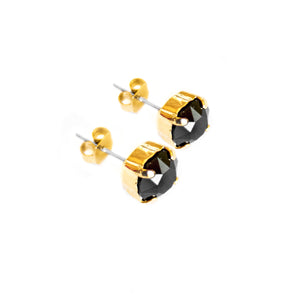 Swarovski Crystal Stud Earrings (Jet Black)