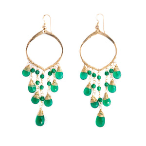 Cascade Earrings (Green Agate)
