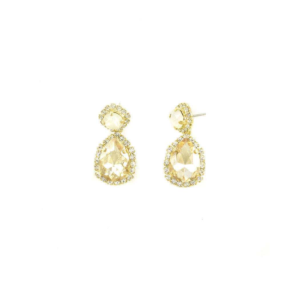 Tear Drop Halo Earrings (Champagne)