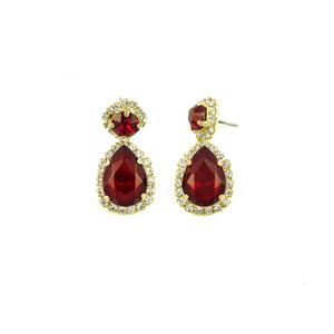 Tear Drop Halo Earrings (Ruby)