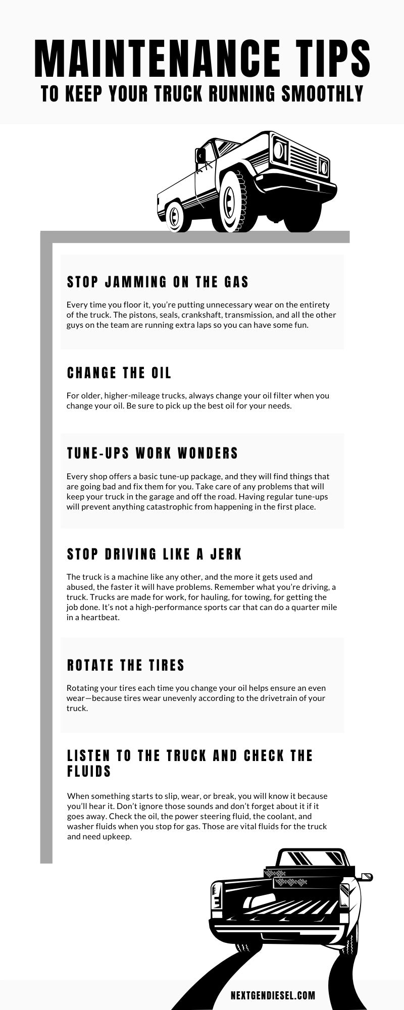 Truck Maintenance Tips infographic