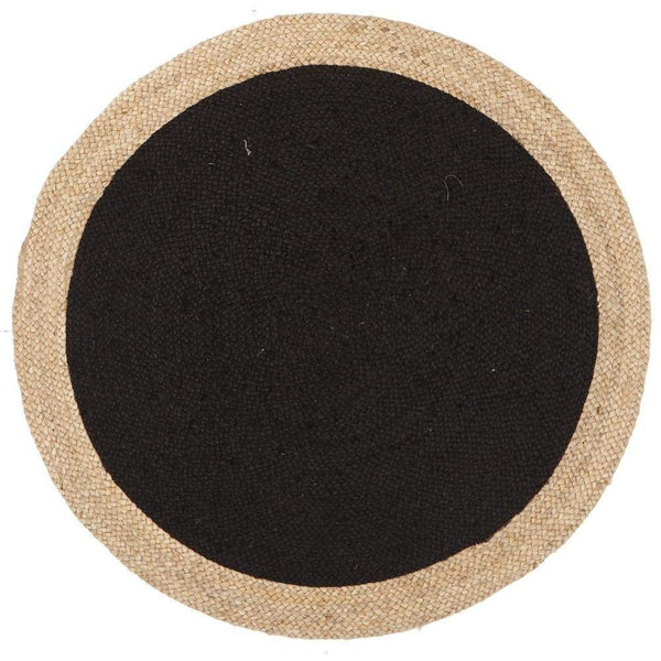 Atrium-Round Jute Natural Rug Black