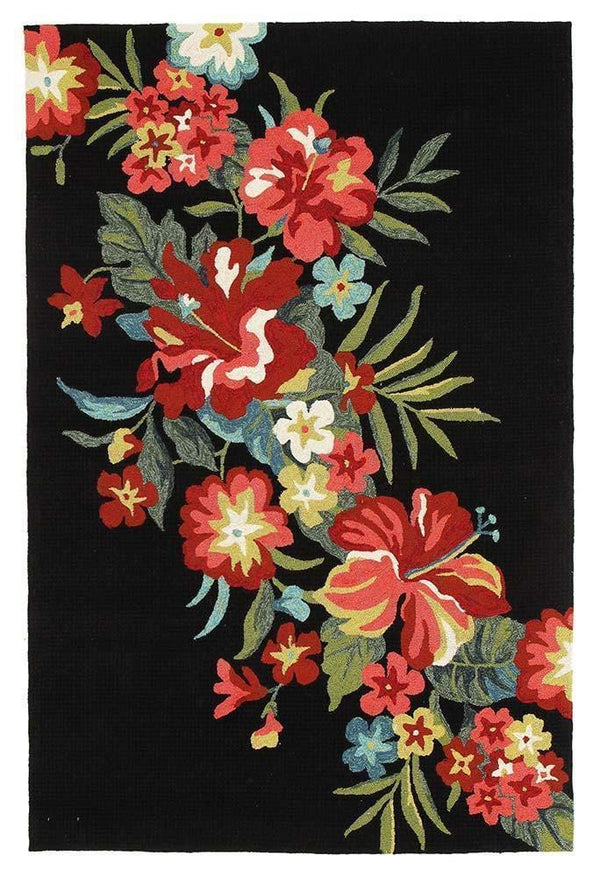 Copocabana-Kelsey Bouquet Black Indoor Outdoor Rug