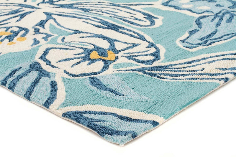 Copocabana-Whimsical Blue Floral Indoor Outdoor Rug