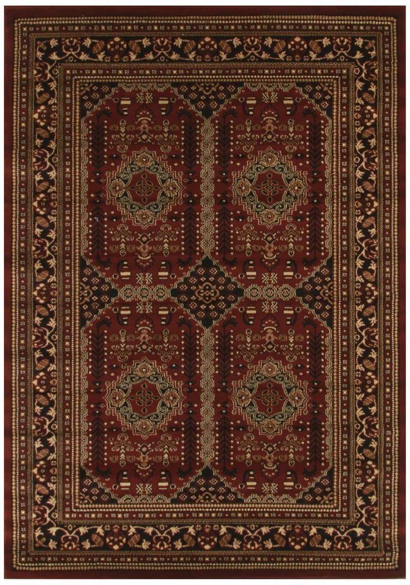 Istanbul-Traditional Afghan Design Rug Burgundy Red