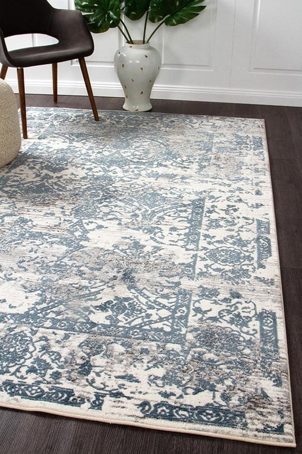 Kendra-Kendra Yasmin Distressed Transitional Rug White Blue Grey