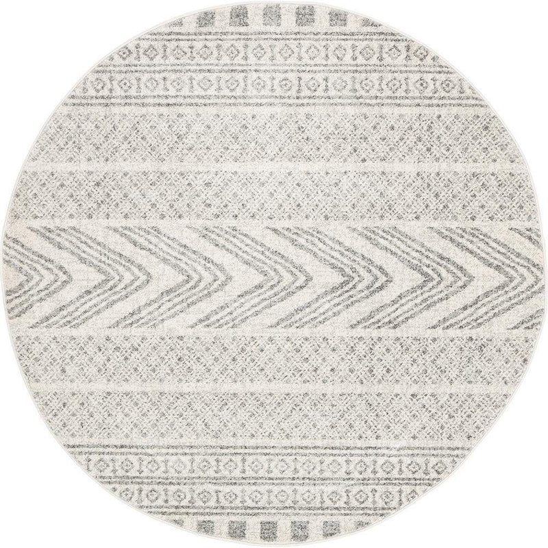 Mirage-Adani Modern Tribal Design Grey Round Rug