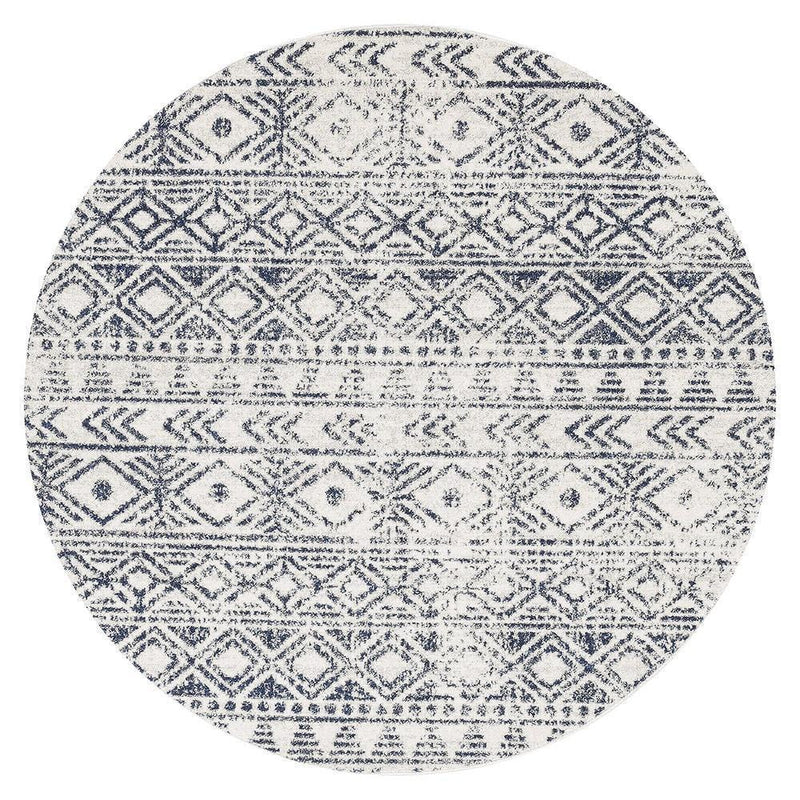 Oasis-Oasis Ismail White Blue Rustic Round Rug