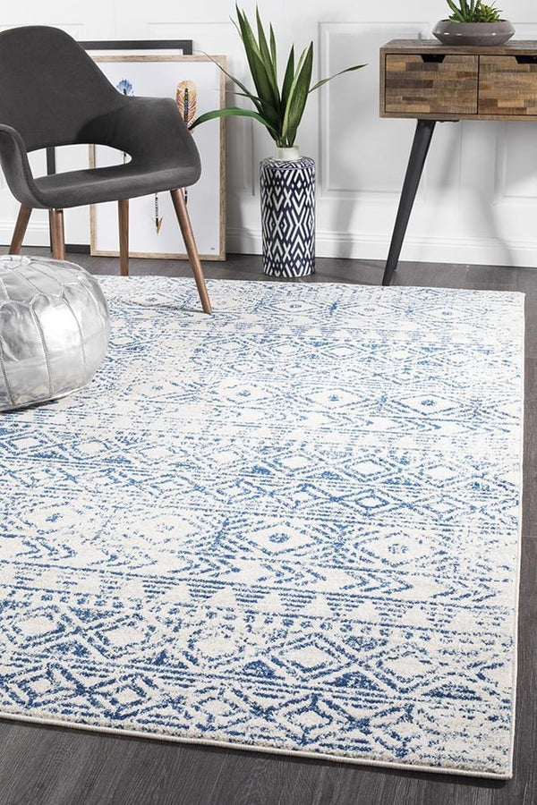 Oasis-Oasis Ismail White Blue Rustic Rug