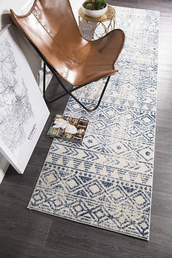 Oasis-Oasis Ismail White Blue Rustic Runner Rug