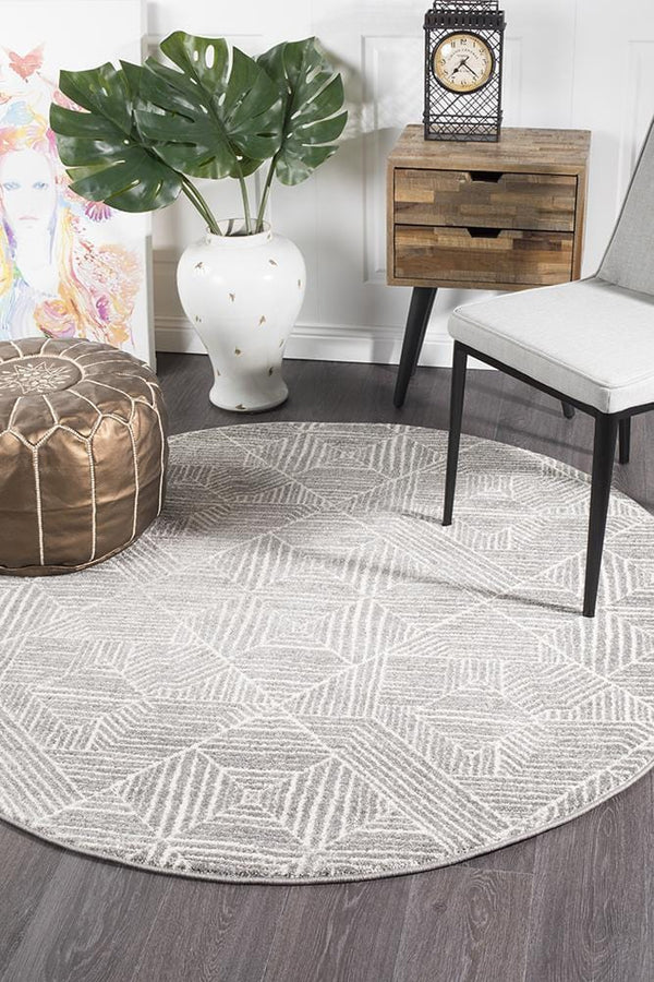 Oasis-Oasis Kenza Contemporary Silver Round Rug