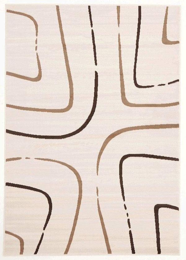 Silver BCF-Abstract Curves Pattern Rug Beige Brown 230X160