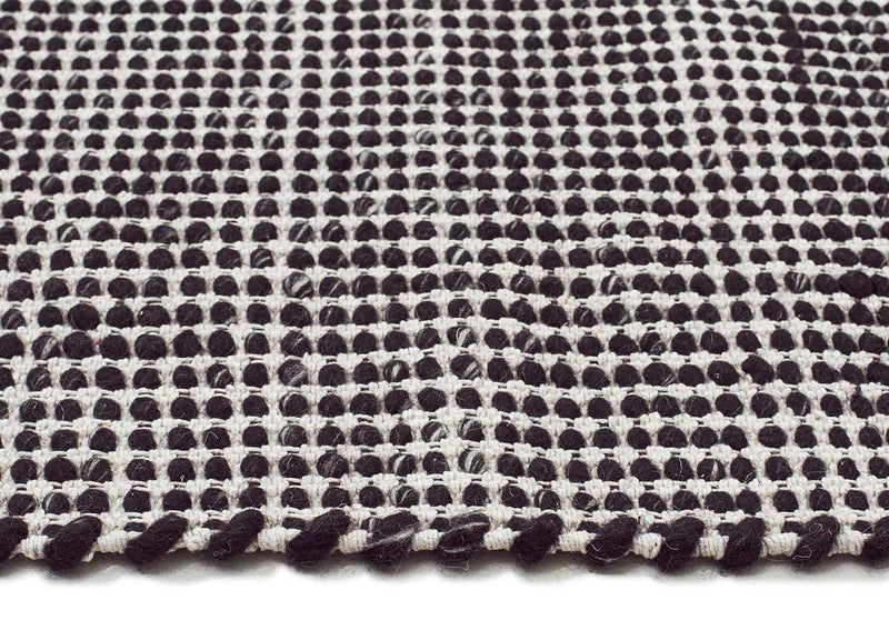 Skandi-Carlos Felted Wool Rug Black Natural