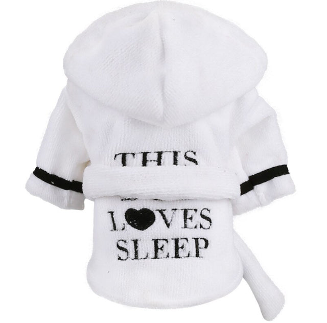 'This Dog Loves Sleep' French Bulldog Hooded Bathrobe Towel