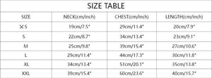 Size Chart For French Bulldog Hoodie With Zip