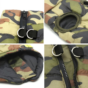 four images showing the features of Camouflage Waterproof French Bulldog Jacket