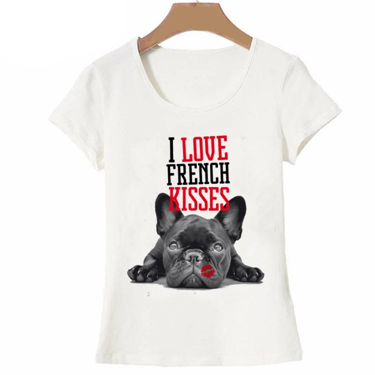 Women's white round neck short sleeve t-shirt with a cute french bulldog image and the words i love french kisses