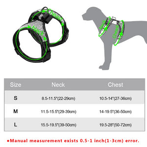Size chart  for Rhinestone Adjustable French Bulldog Harness With Bow