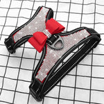 Rhinestone Adjustable French Bulldog Harness With a red Bow