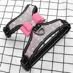 Rhinestone Adjustable French Bulldog Harness With a pink Bow