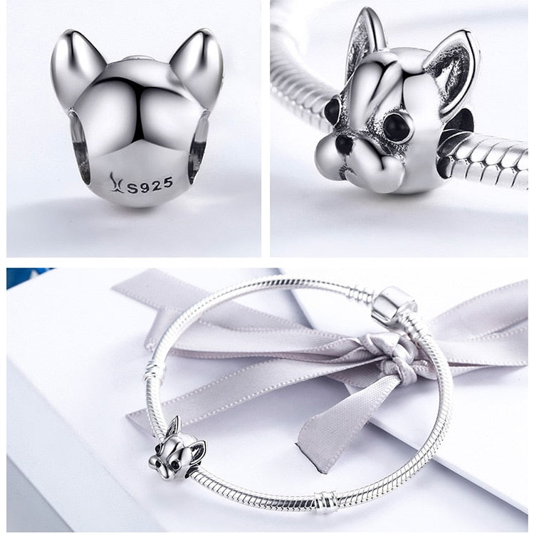 Front view, back view and charm on a bracelet 925 Sterling Silver French Bulldog Charm