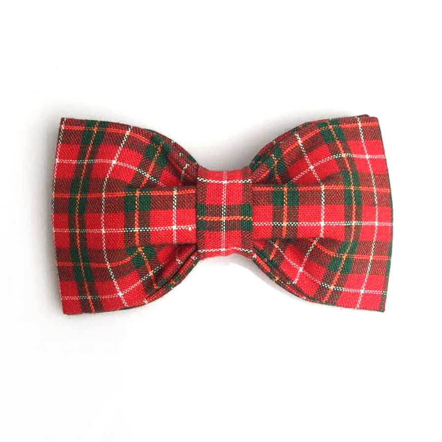 Christmas Red Plaid/Tartan French Bulldog Collar And Leash Set With Bow Tie