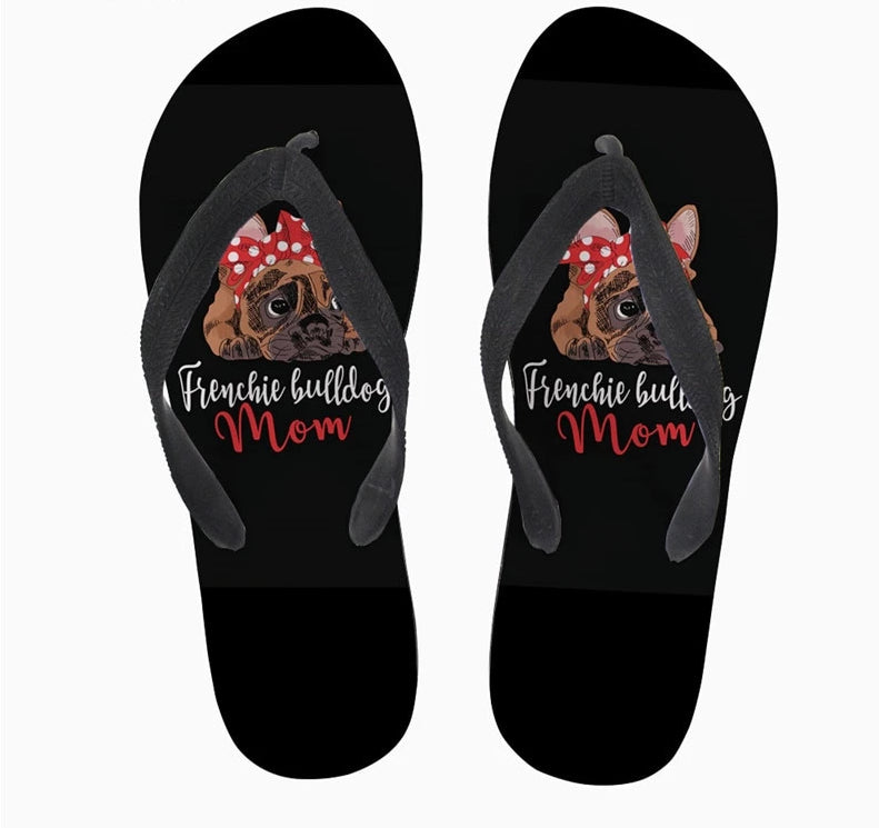 Women's Black French Bulldog Mom Lightweight Flip Flops With Cute Frenchie Image
