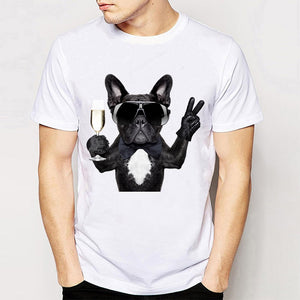 Men's frenchies best life white round neck short sleeve t-shirt with a french bulldog holding up a glass of champagne and throwing up the peace sign