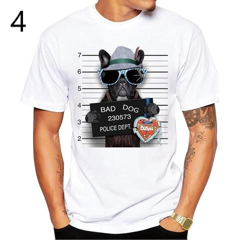 Men's white short sleeve round neck T-shirt with a funny French bulldog mugshot image