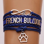 Blue Love French Bulldog Braided Leather Infinity Bracelet