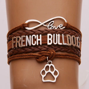 Brown Love French Bulldog Braided Leather Infinity Bracelet