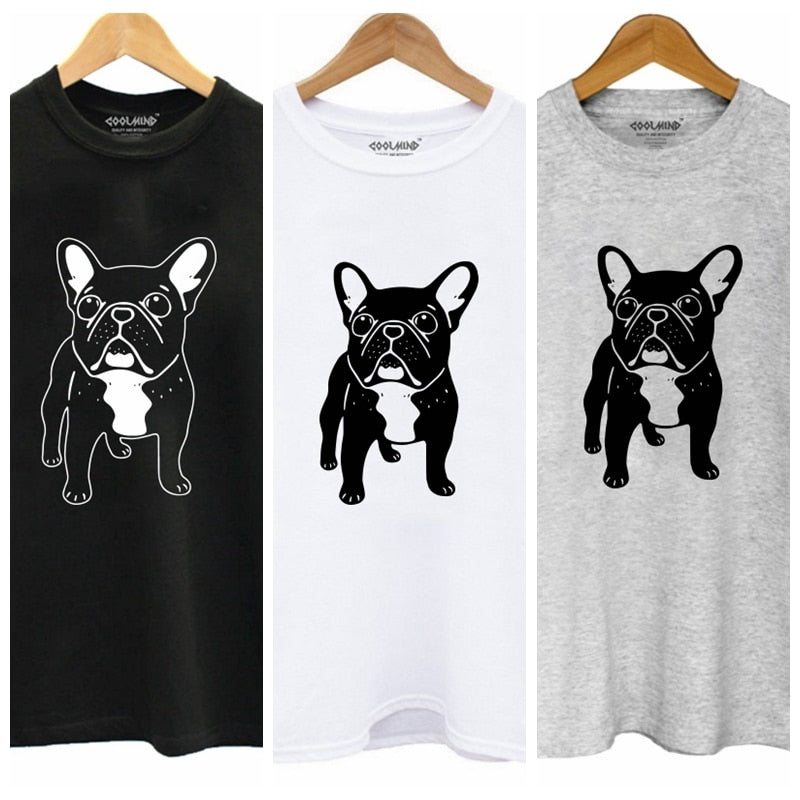 Cute French Bulldog Womens T-shirt in three colors, black, white and grey