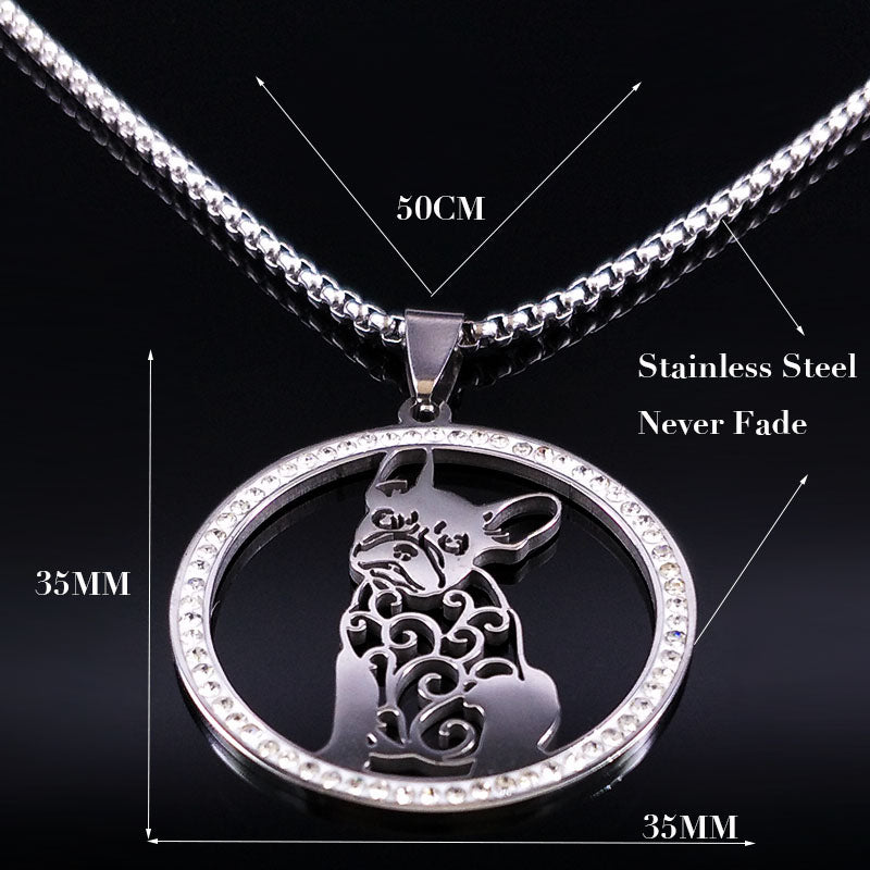 Silver Colored French Bulldog Crystal Stainless Steel Women's Necklace On A Black Background Showing Sizes And Materials