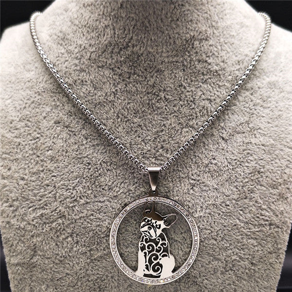 Silver Colored French Bulldog Crystal Stainless Steel Women's Necklace Around The Neck Of A Grey Manikin