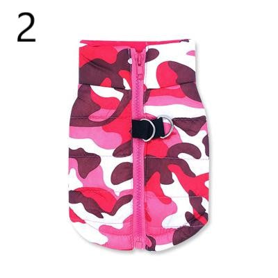 pink purple red and white Camouflage Waterproof French Bulldog Jacket