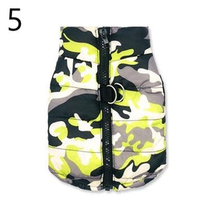 grey white black and yellow Camouflage Waterproof French Bulldog Jacket