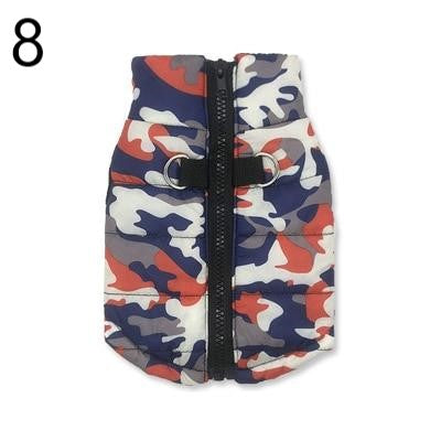 blue grey white and orange Camouflage Waterproof French Bulldog Jacket