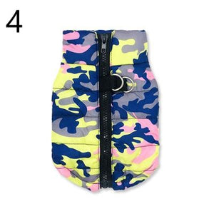 blue grey yellow and pink Camouflage Waterproof French Bulldog Jacket