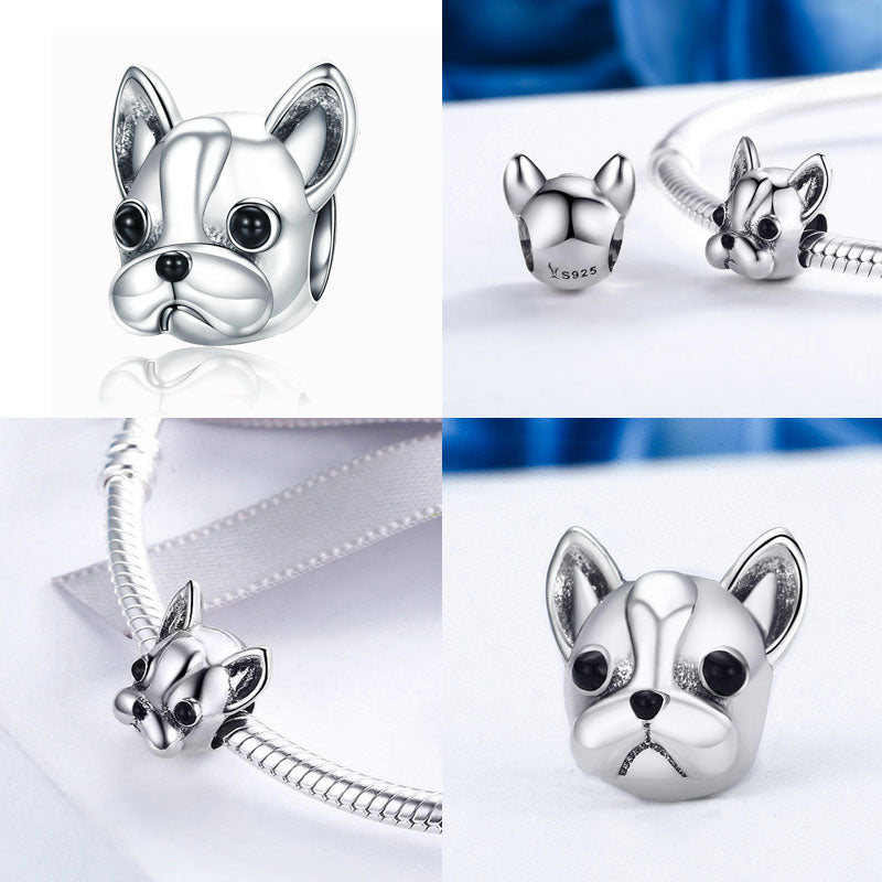 four images of 925 Sterling Silver French Bulldog Charm, Front view, back view, and on bracelet images