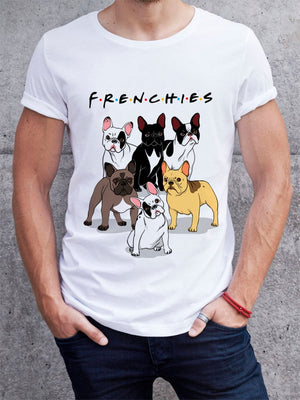 Men's white round neck short sleeve frenchies and friends French bulldog t-shirt with a picture of six French bulldogs and the words f.r.e.n.c.h.i.e.s